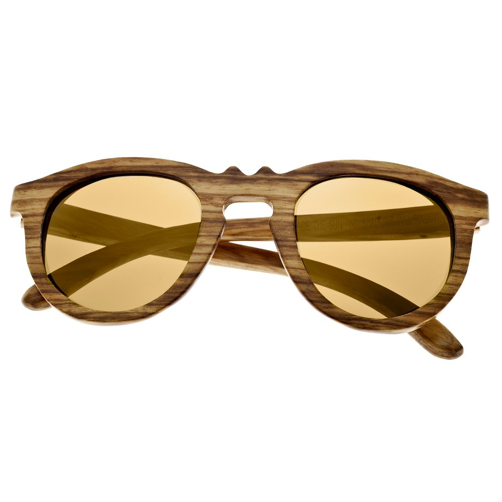 Earth Wood Venice Unisex Sunglasses with Gold Lens - Bark (Brown)