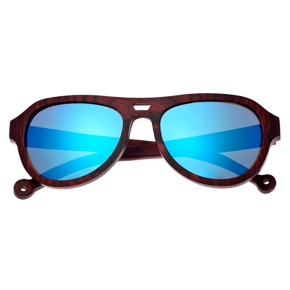 Earth Wood Coronado Unisex Sunglasses with Blue Lens - Red, Rosewood/Black