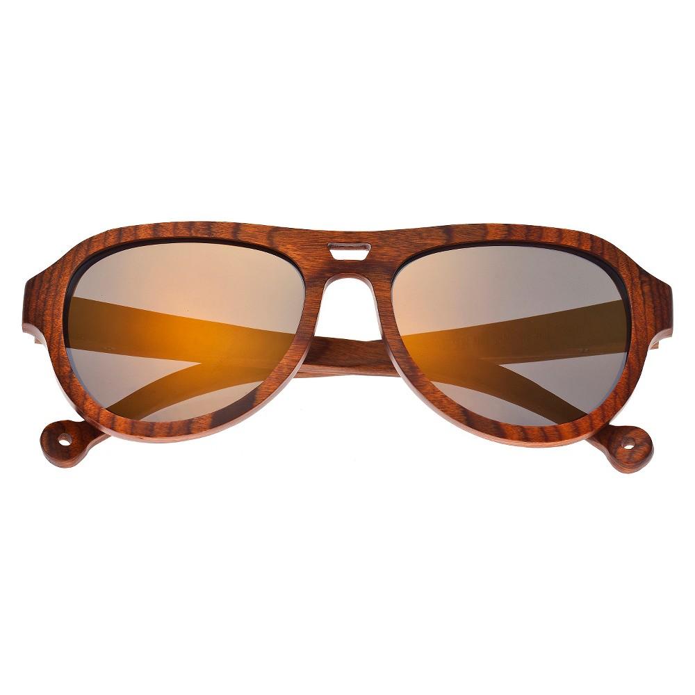 Earth Wood Coronado Unisex Sunglasses with Gold Lens - Brown