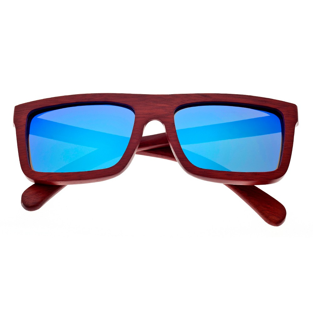 Earth Wood Hamoa Unisex Sunglasses with Blue Lens - Red, Red Oak