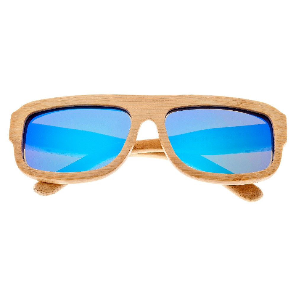 Earth Wood Daytona Unisex Sunglasses with Blue Lens - Beige, Green
