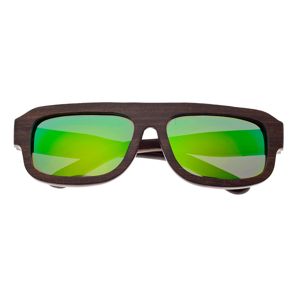 Earth Wood Daytona Unisex Sunglasses with Green Lens - Brown, Dark Oak