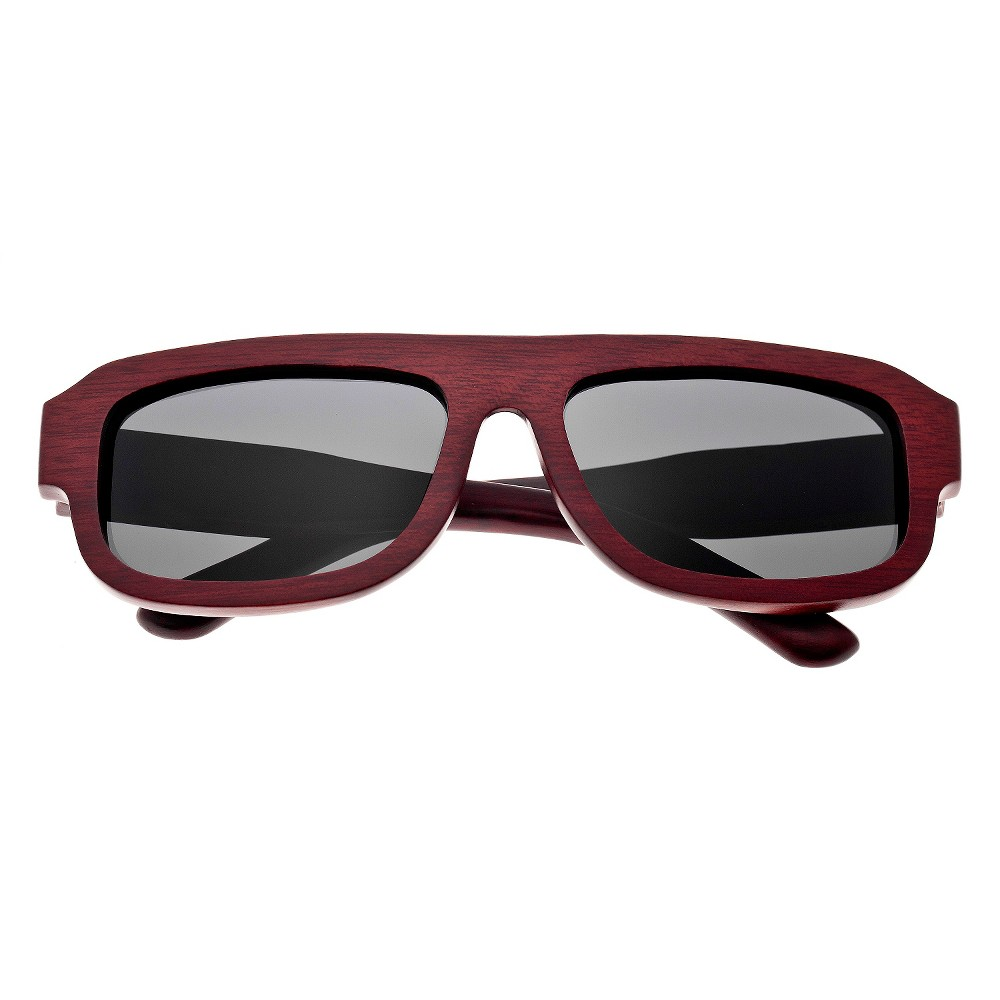 Earth Wood Daytona Unisex Sunglasses with Black Lens - Red, Red Oak