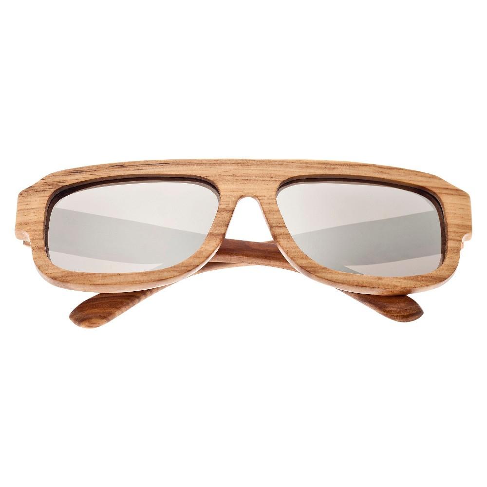 Earth Wood Daytona Unisex Sunglasses with Silver Lens - Bark (Brown)