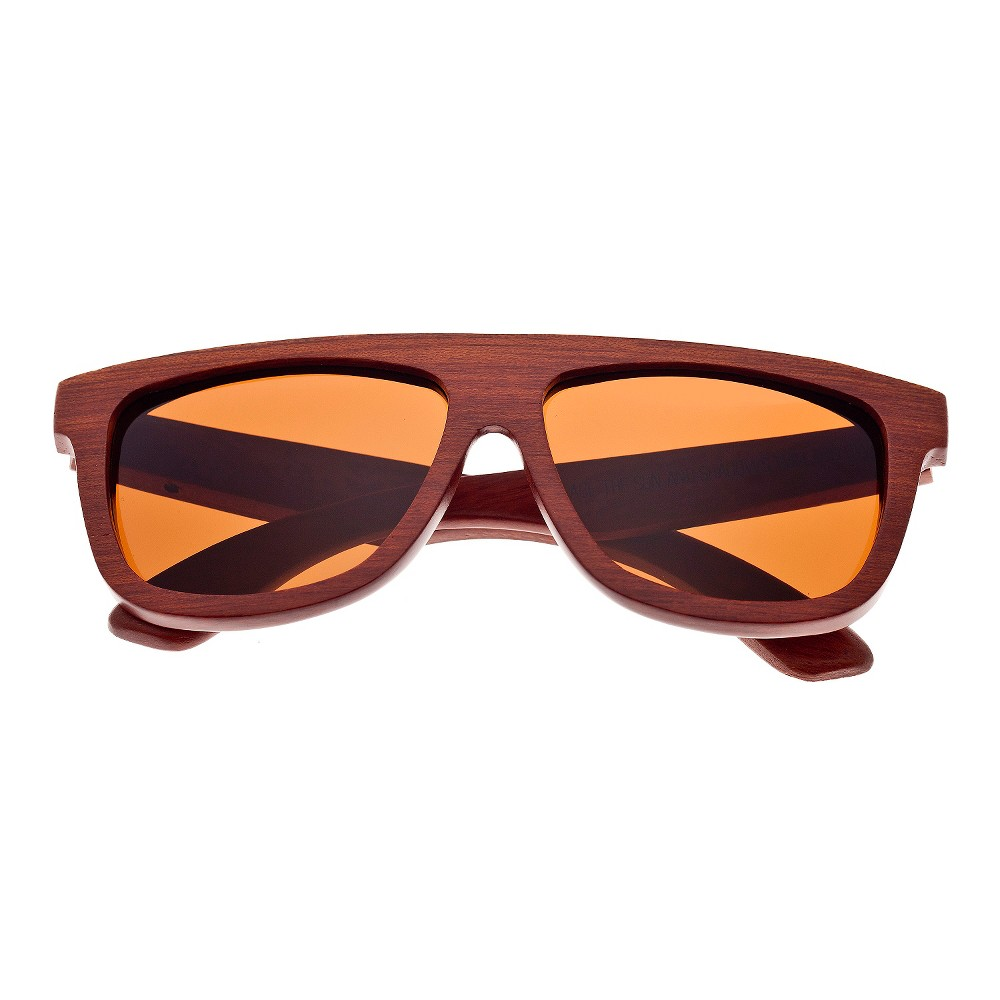 Earth Wood Imperial Unisex Sunglasses with Brown Lens - Red, Red Oak