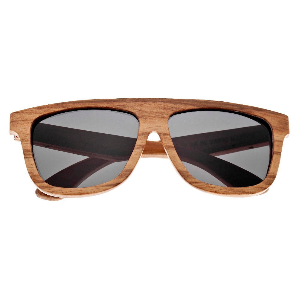 Earth Wood Imperial Unisex Sunglasses with Black Lens - Bark (Brown)