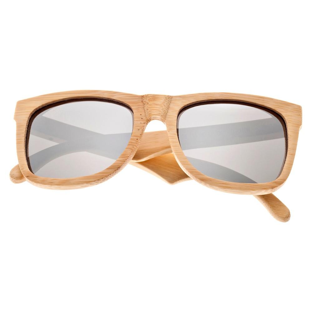 Earth Wood Hampton Unisex Sunglasses with Silver Lens - Beige, Green