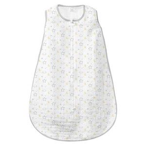 SwaddleDesigns zzZipMe Sack - Stars - Sterling - 3-6 M, Infant Unisex, Gray