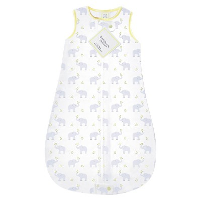 SwaddleDesigns® Cotton Sleeping Sack - Elephants and Chickies - Yellow 12-18M