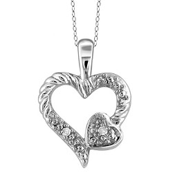 "Women's Sterling Silver Round-Cut White Diamond Pave Set Double Heart within Heart Pendant (18"")"