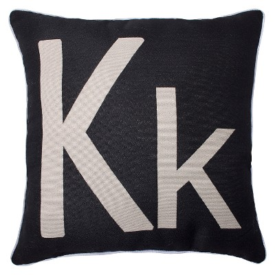 Monogram 'K' Throw Pillow Black (18 x18 )- Pillow Perfect&#174: