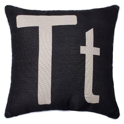 Monogram S Throw Pillow Black (18