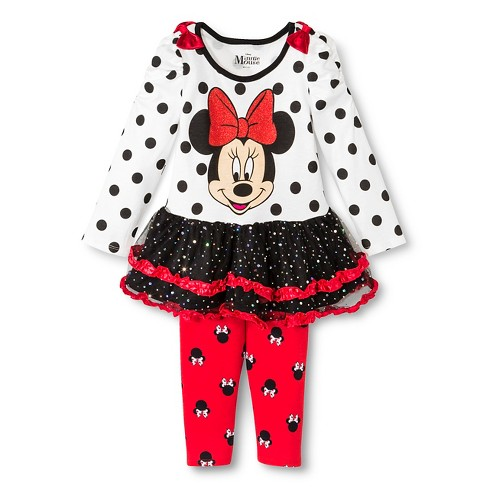 Toddler Girls' Minnie Mouse Top and Bottom Set - Red - image 1 of 2