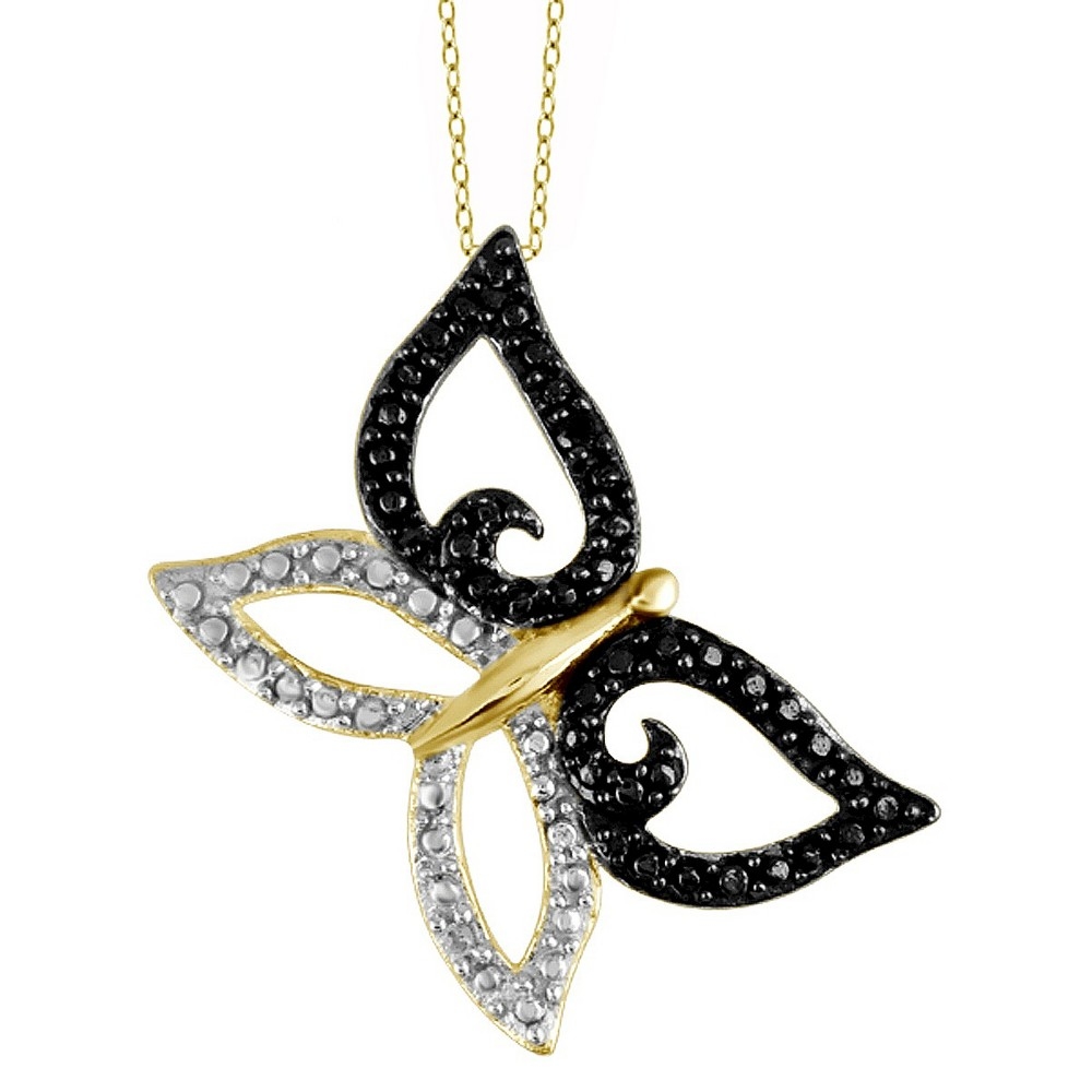 Womens Sterling Silver Accent Round-Cut Black and White Diamond Prong Set Butterfly Pendant - Yellow