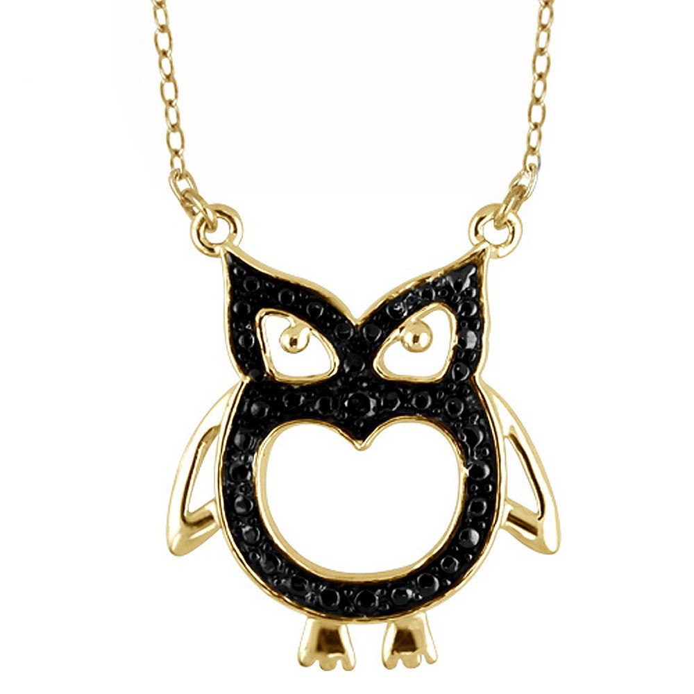Womens Sterling Silver Accent Round-Cut Black Diamond Pave Set Owl Pendant - Yellow (18)