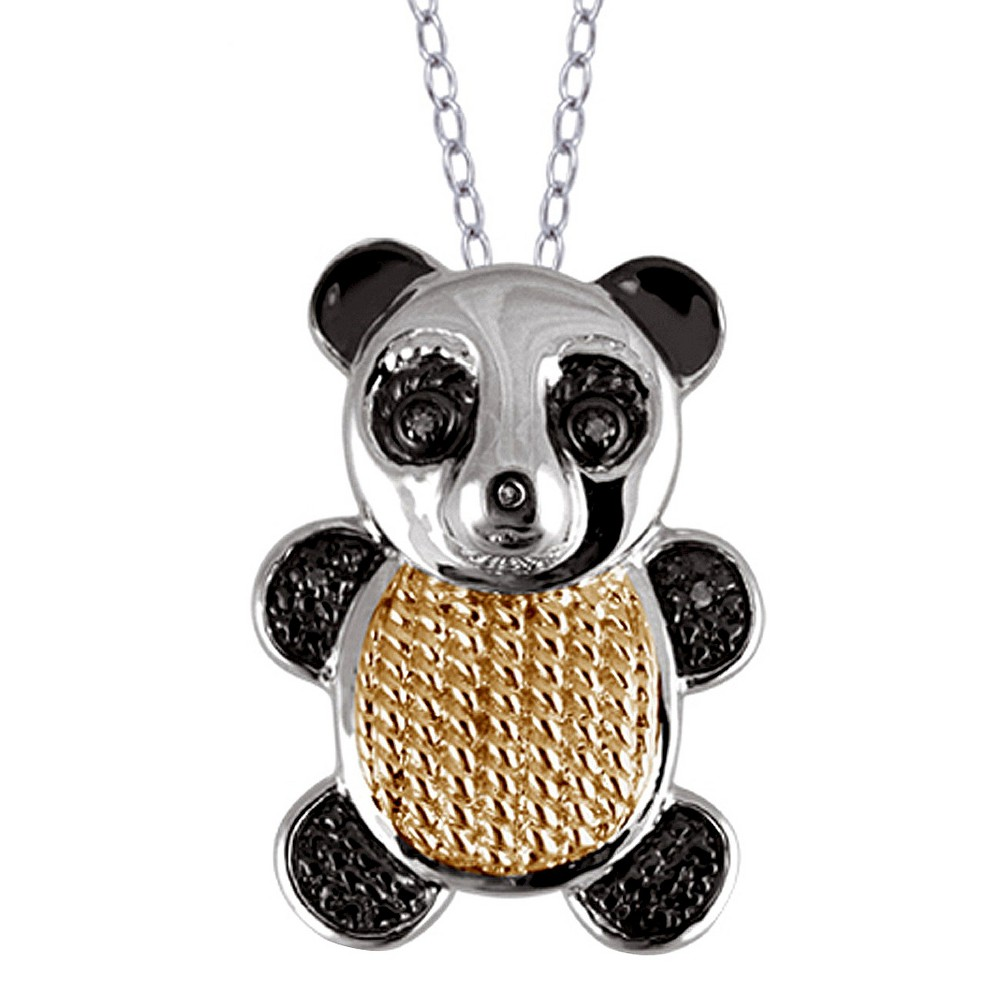 Womens Sterling Silver Accent Round-Cut White Diamond Pave Set Bear Pendant - Yellow (18)