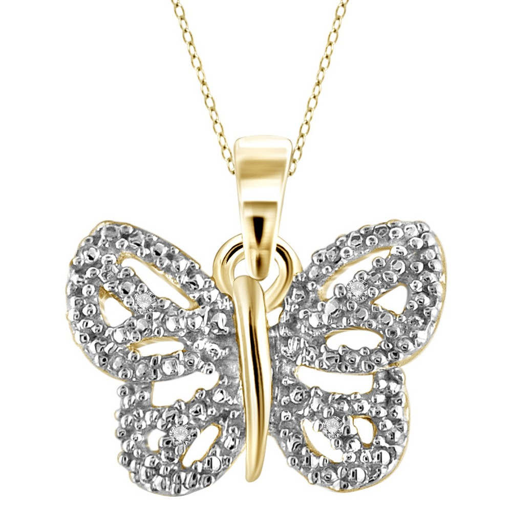 Womens Sterling Silver Accent Round-Cut White Diamond Pave Set Butterfly Pendant - Yellow (18)