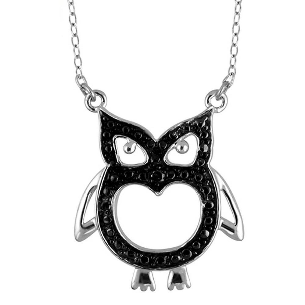 Womens Sterling Silver Accent Round-Cut Black Diamond Pave Set Owl Pendant - White (18)