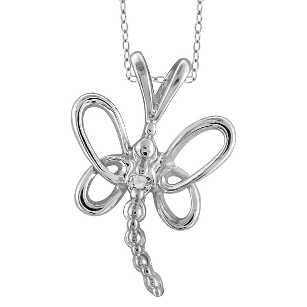 Womens Sterling Silver Accent Round-Cut White Diamond Pave Set Butterfly Pendant - White (18)