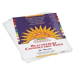 SunWorks® Construction Paper, 58 lbs, 9 x 12 - White (50 Sheets Per Pack)