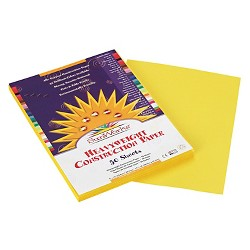 SunWorks® Construction Paper, 58 lbs, 9 x 12 - Yellow (50 Sheets Per Pack)
