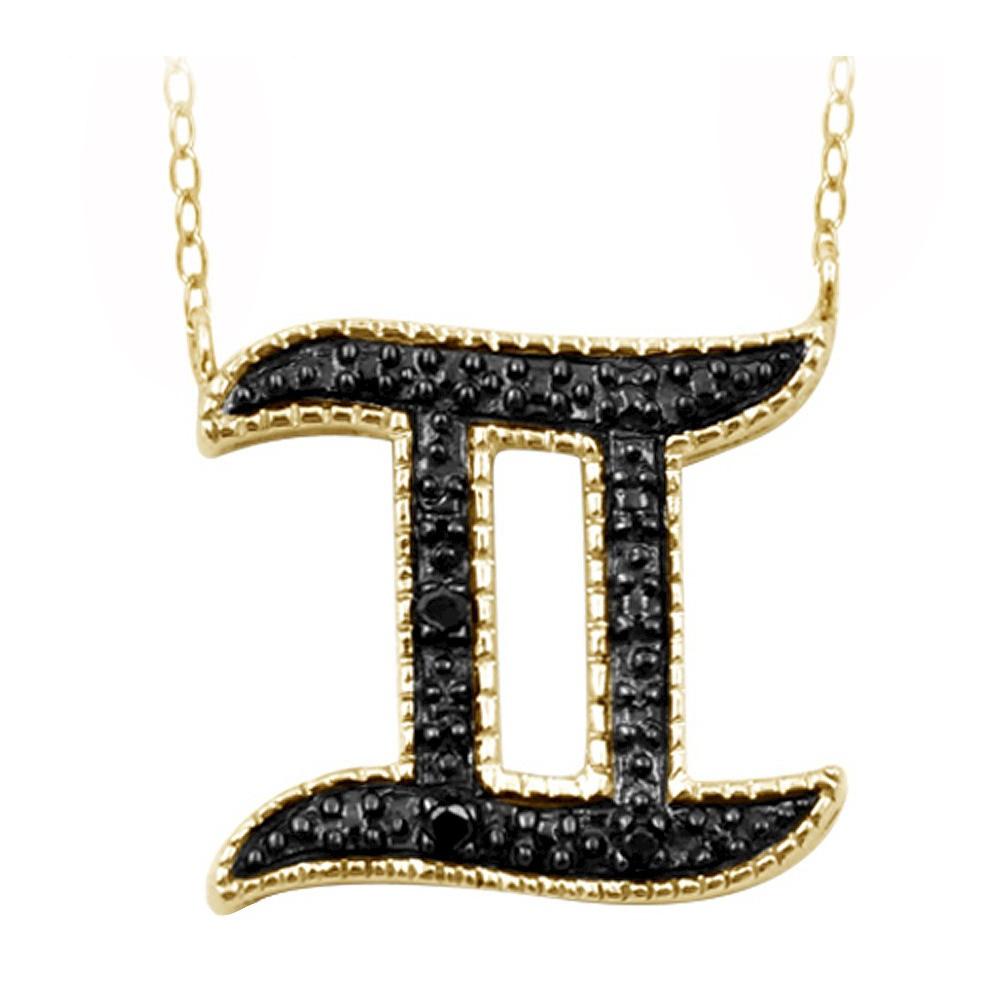 Womens Accent Round-Cut Black Diamond Pave Set Gemini Zodiac Pendant - Yellow (18)