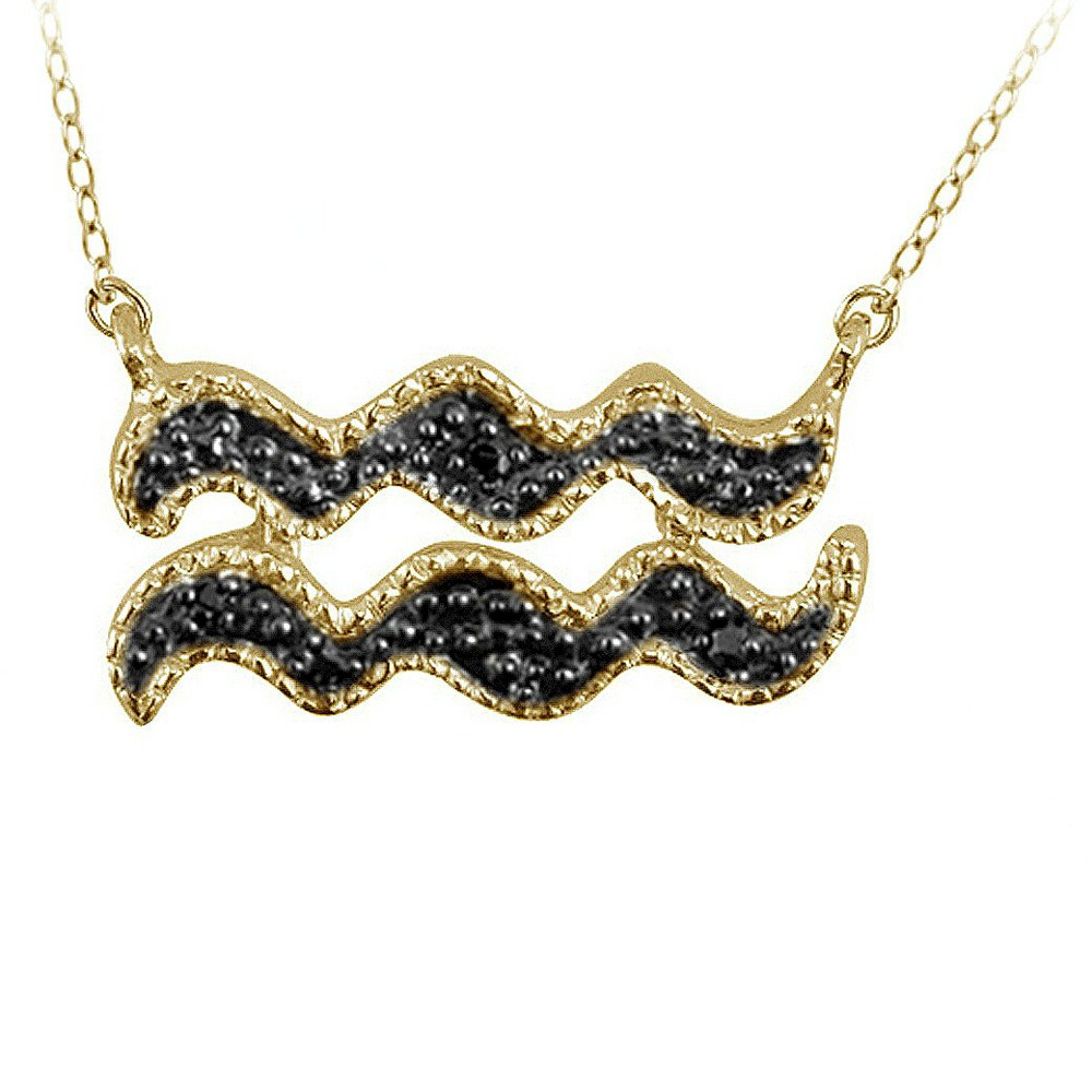Womens Accent Round-Cut Black Diamond Pave Set Aquarius Zodiac Pendant - Yellow (18)