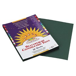SunWorks® Construction Paper, 58 lbs, 9 x 12 - Green (50 Sheets Per Pack)