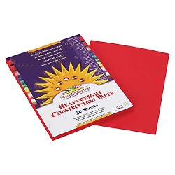 SunWorks® Construction Paper, 58 lbs, 9 x 12 - Red (50 Sheets Per Pack)