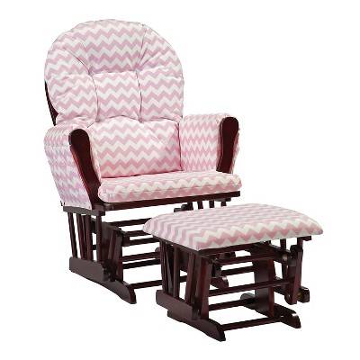 Stork Craft Hoop Cherry Glider and Ottoman - Pink Chevron