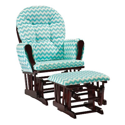 Stork Craft Hoop Cherry Glider and Ottoman - Turquoise Chevron