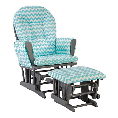 Stork Craft Hoop Gray Glider and Ottoman - Turquoise Chevron