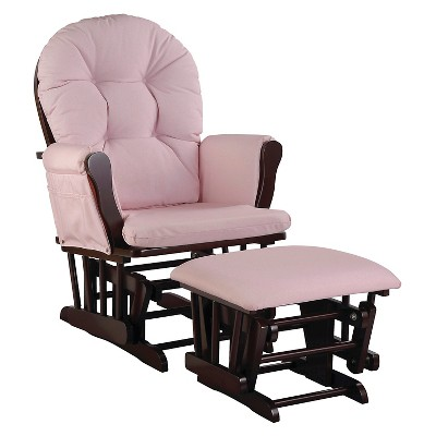 Stork Craft Hoop Espresso Glider and Ottoman - Pink Blush Swirl