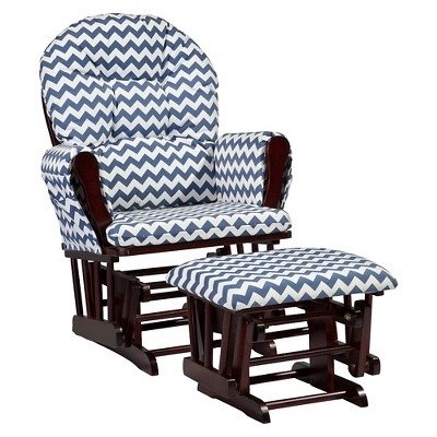 Stork Craft Hoop Cherry Glider and Ottoman - Navy Chevron
