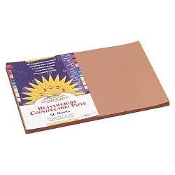 SunWorks® Construction Paper, 58 lbs, 12 x 18 - Brown (50 Sheets Per Pack)