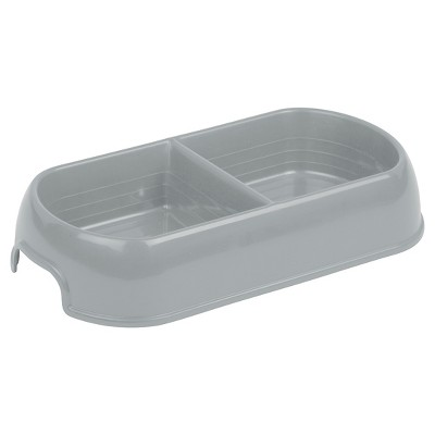 Double Diner Dog Bowl - Gray- 2 Cups - Boots & Barkley™