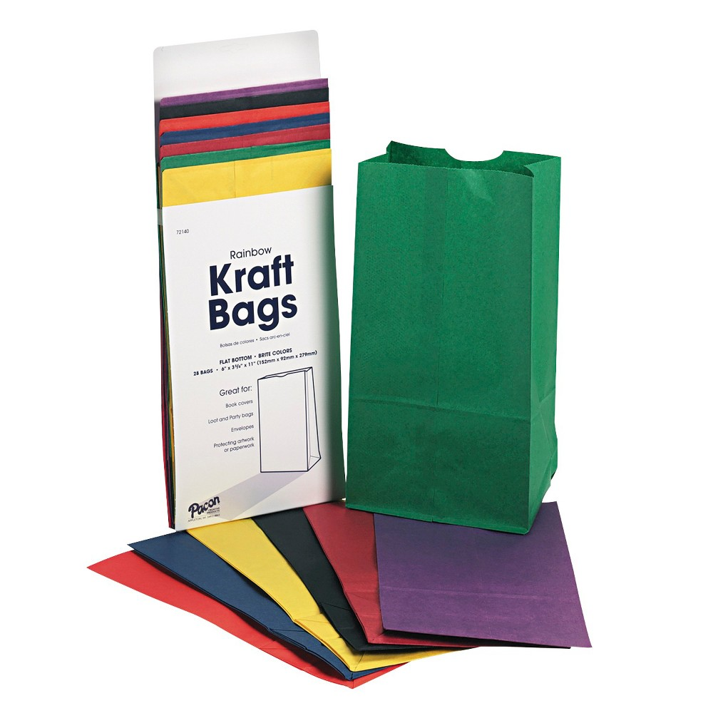 Rainbow Kraft Party Favor Bag 28 ct, Multi-Colored