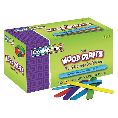 Chenille Kraft® Colored Wood Craft Sticks, 4 1/2 x 3/8 - Multi-Colored (1000 Per Box) - image 1 of 1