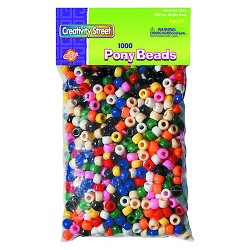 Creativity Street® Pony Beads, Plastic, 6mm x 9mm - Multi-Colored (1000 Per Pack)