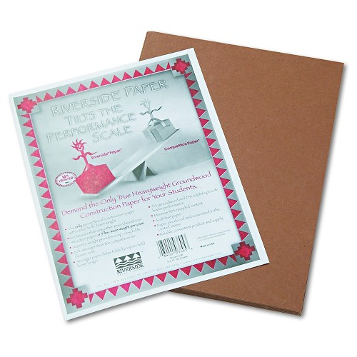Pacon Riverside Construction Paper, 76 lbs., 9 x 12 - Brown (50 Sheets Per Pack)