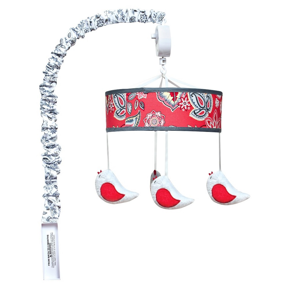 Trend Lab Crib Mobile - Red Flowers & Birds, Neon Coral