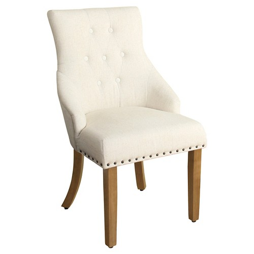 English Arm Dining Chair with Nailheads - Cream, Antique Flax