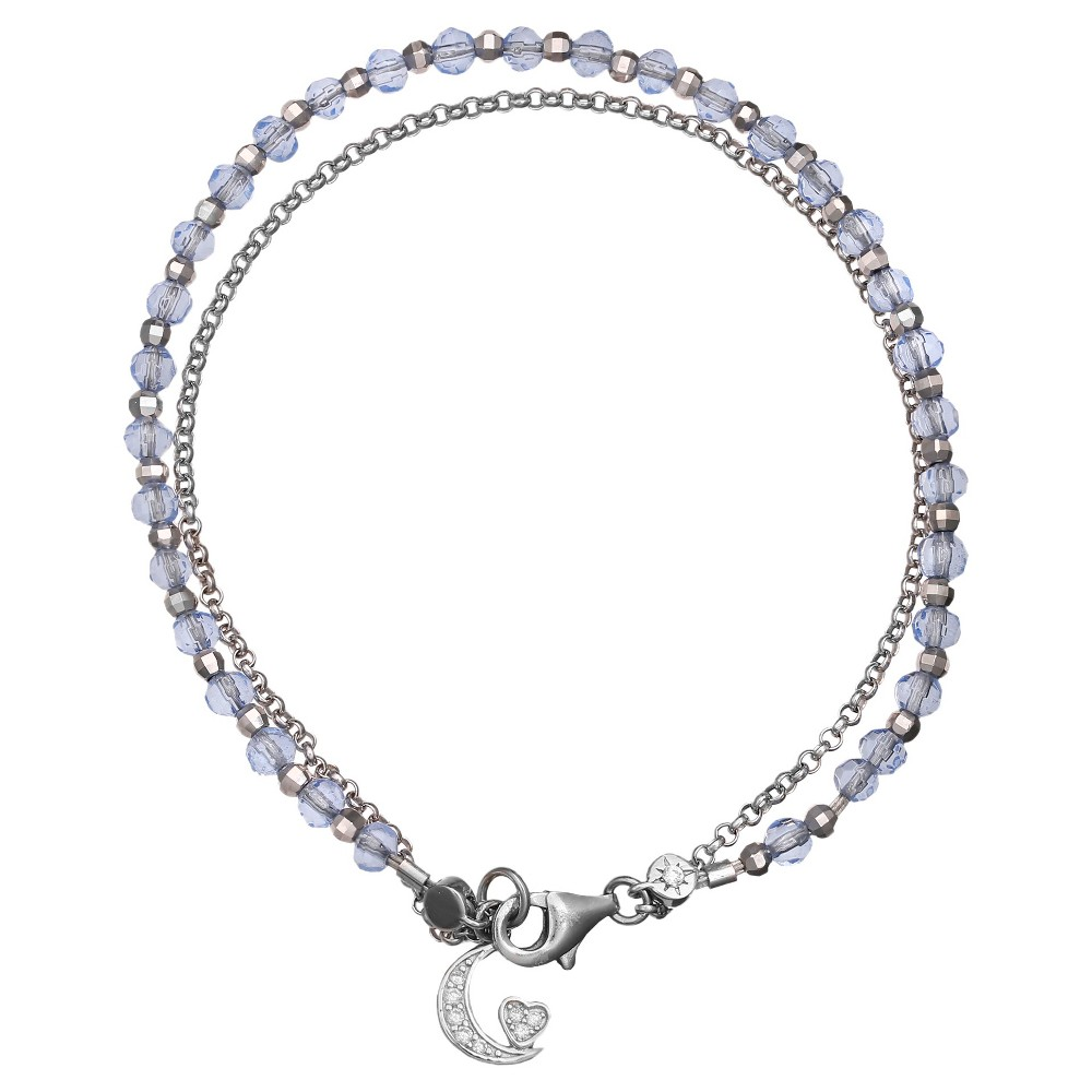 Womens Sterling Silver Bracelet with Moon Accent and Light Crystals (7.5), Silver/Amethyst