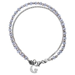 """Women's Sterling Silver Bracelet with Moon Accent and Light Crystals (7.5"""")"""