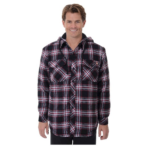 Dickies men 39 s sherpa lined hooded flannel shirt jacket for Men s hooded flannel shirt jacket