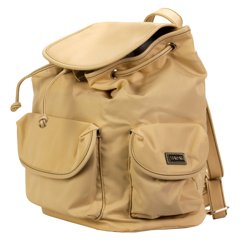 Womens Nylon Backpack Handbag, Beige Nude