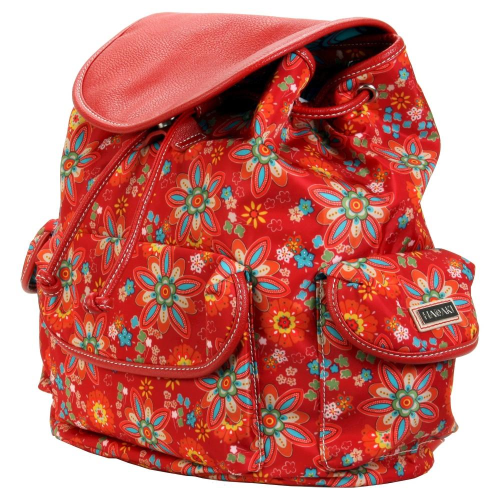 Womens Nylon Backpack Handbag, Red