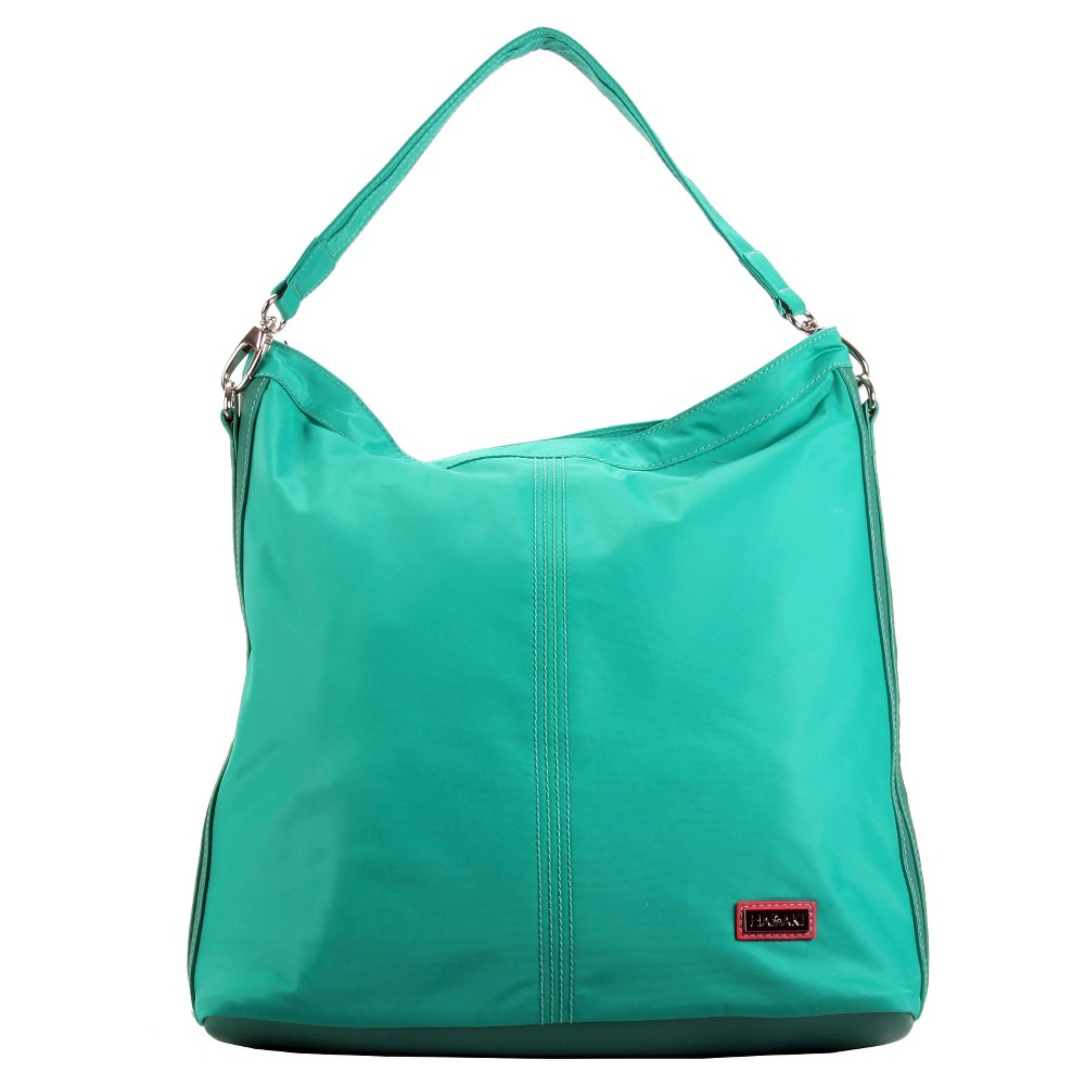 Womens Nylon Hobo Handbag, Vivid Teal