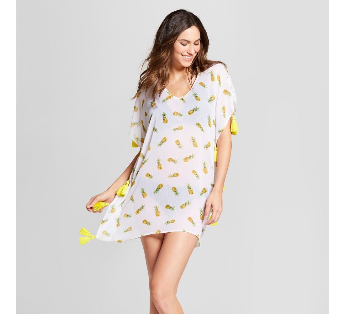 Women's Chiffon Kaftan Cover Up - Xhilaration™ White Pineapple