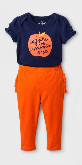 Baby Girls' 2pc Short Sleeve Bodysuit and Ruffle Leggings Set - Cat & Jack™ Nightfall Blue/Burnt Orange